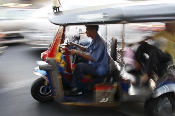 Tuk-Tuk in motion, Bangkok, Thailand.